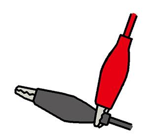 注意:+ 極と-極がふれると、ショートして危険。銅板につなげるとき以外は、図のようにしておく。