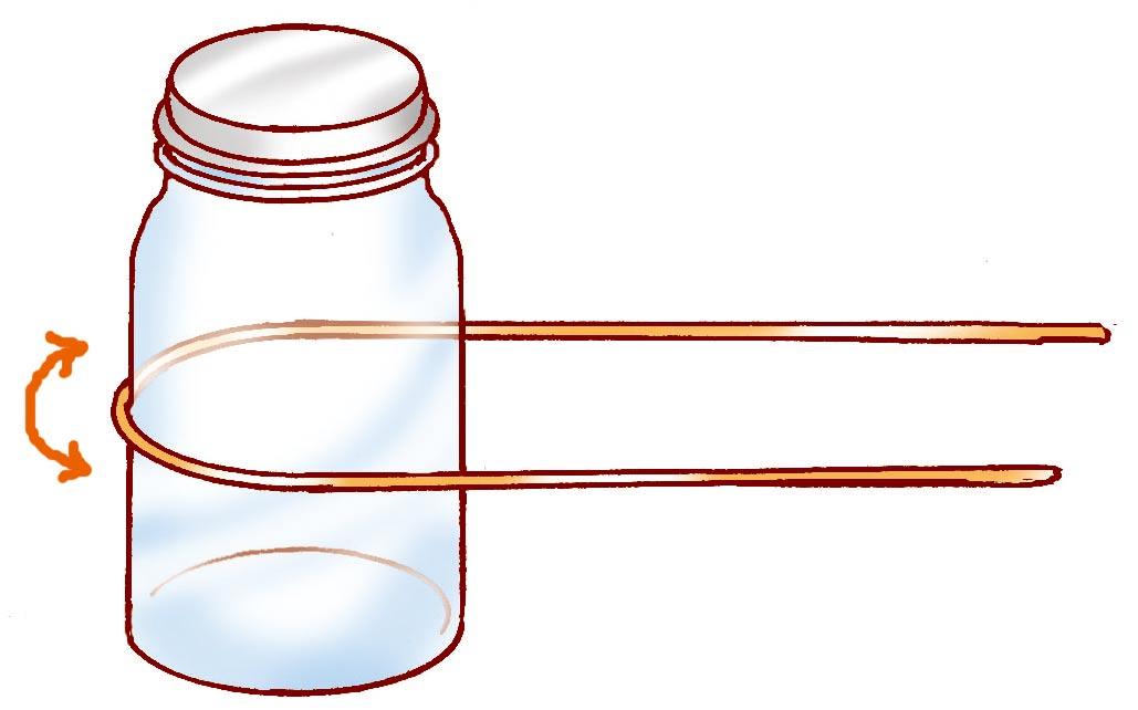 ガラスビンを<ruby><rb>使</rb><rp>(</rp><rt>つか</rt><rp>)</rp></ruby>って、50cmの<ruby><rb>針金</rb><rp>(</rp><rt>はりがね</rt><rp>)</rp></ruby>に<ruby><rb>丸</rb><rp>(</rp><rt>まる</rt><rp>)</rp></ruby>みをつける。