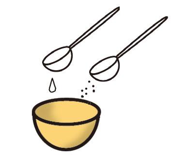 重と水を小さな器にまぜておく。