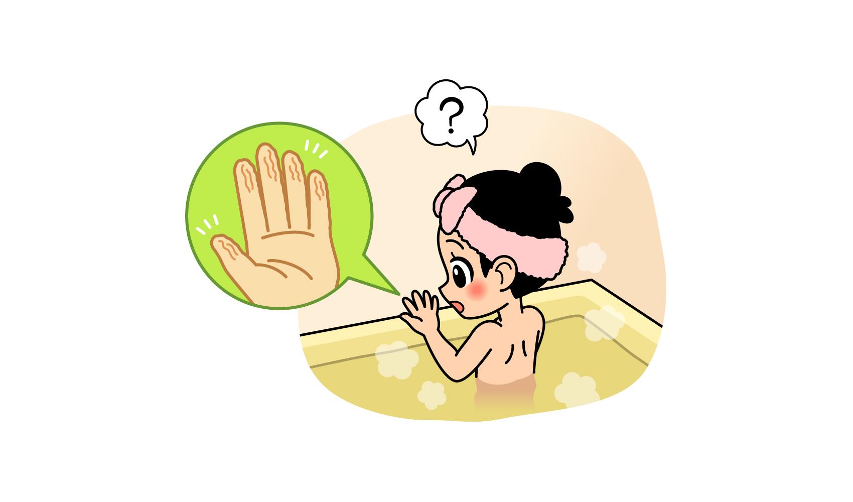 お風呂に入ると指がしわしわになるのは、なぜ?